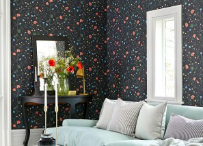 Wallpaper Appolonia Matt Flowers Black grey Pale yellow Green Pastel blue Red