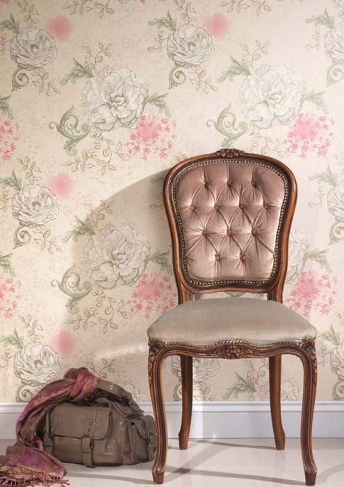 Wallpaper Mykene Shimmering pattern Matt base surface Flowers Ivory Pale light green Gold shimmer Light pink White