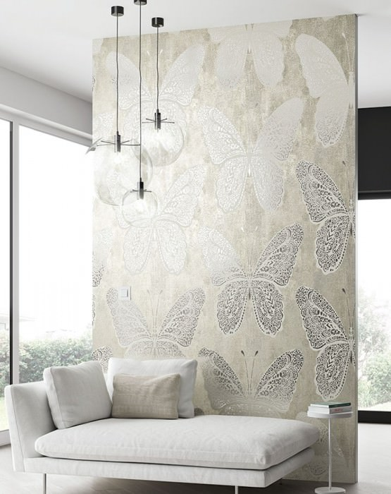 Wallpaper Fallaria Shiny pattern Matt base surface Butterflies Beige grey Silver lustre