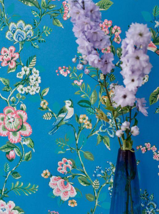 Papel de parede floral Papel de parede Miri azul Ver quarto