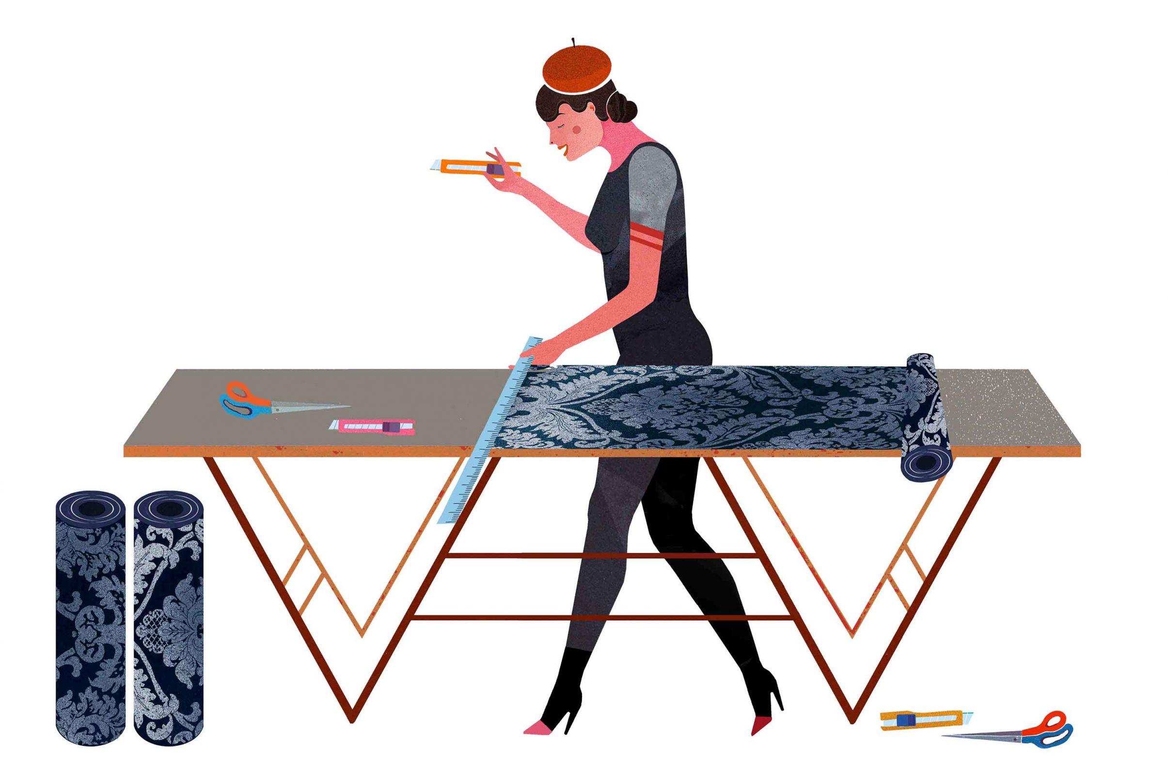 Como-cortar-el-papel-pintado-correctamente-Cortar-las-tiras-de-papel-sobre-la-mesa-de-caballete