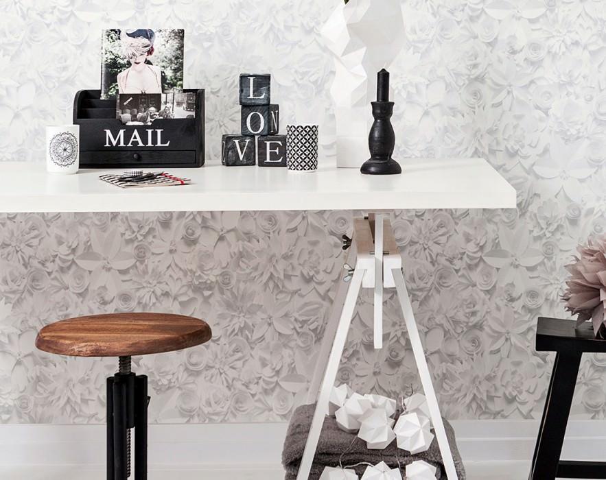 Papel pintado 3D-Blossoms Mate Flores Gris pálido Blanco crema Blanco grisáceo