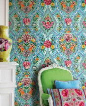 Wallpaper Brigid Matt Blossoms Floral damask Birds Pastel turquoise Blue Yellow Green Orange Red