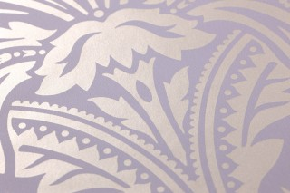 Wallpaper Manus Shimmering pattern Matt base surface Floral damask Pale lavender Pearl beige