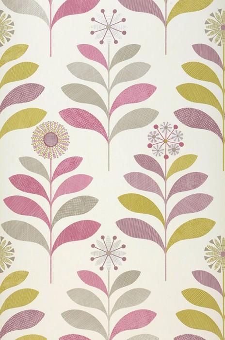 Papier peint Tessa Mat Fleurs stylisées Blanc crème Vert beige Beige gris brillant Blanc gris brillant Violet pastel Violet rouge