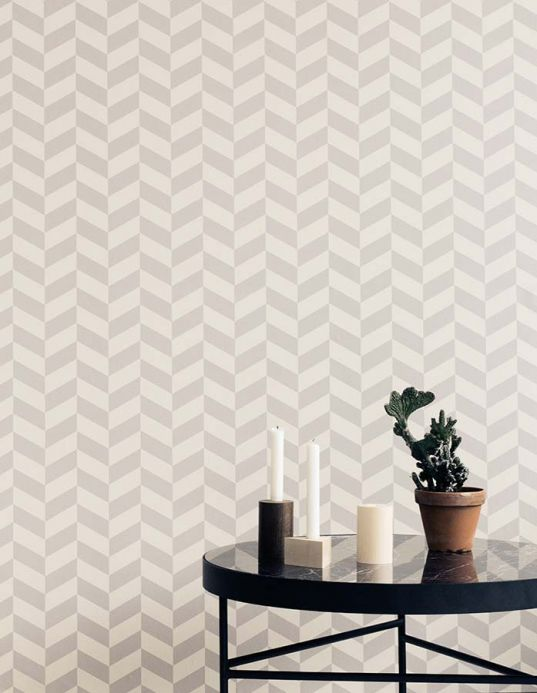 Archiv Wallpaper Angle platinum grey Room View