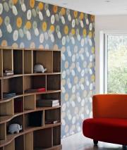 Papier peint Dana Mat Fleurs stylisées Gris foncé Jaune orange Ivoire clair Beige nacré Noir