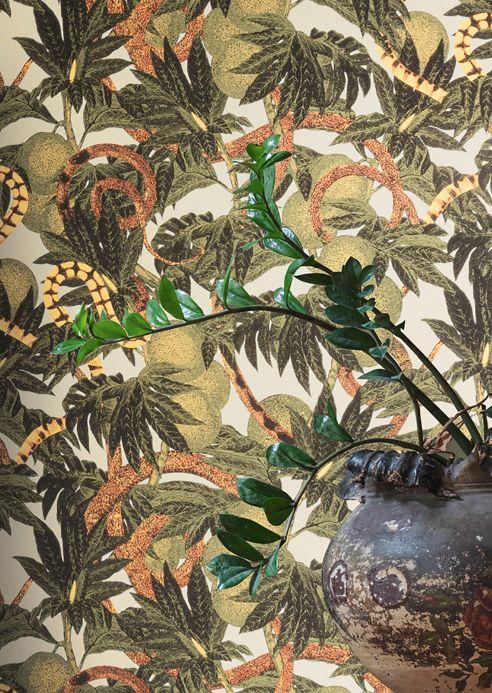 Botanische Tapeten Tapete Jungle Snakes Olivgrün Raumansicht