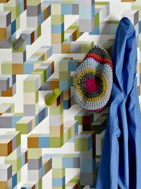 Tapete Tetris Farngrün Raumansicht