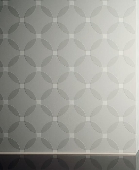 Wallpaper Maude Matt pattern Shiny base surface Geometrical elements Circular pattern Grey white Agate grey Light grey