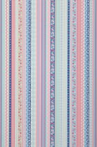 Wallpaper Hellen Matt Ribbons Stripes White Blue Grey beige Pastel blue Pastel turquoise Ruby red