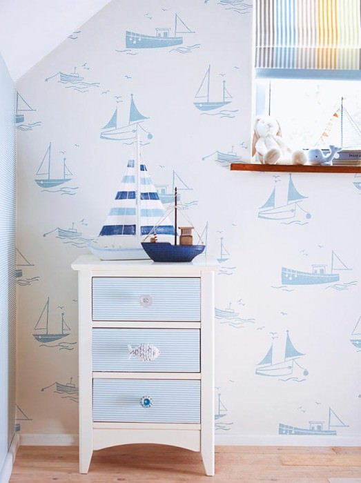 Papier peint Pelam Mat Bateaux Blanc crème Bleu clair pastel
