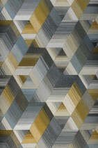 Wallpaper Nikita Matt Triangles Graphic elements Rhombuses Trapezoids Beige Blue grey Dark grey Grey white Khaki