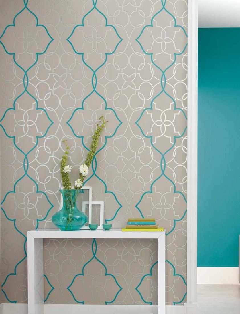 Dario cinza claro prata lustre azul turquesa papel - Papel para revestir paredes ...