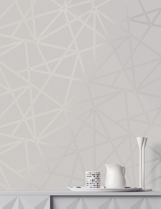 Geometric wallpaper Wallpaper Habakuk grey white Room View