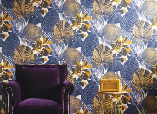 Papel pintado Venaria azul violeta Ver habitación