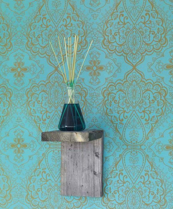 Wallpaper Rosmerta Fine linen look Matt Oriental damask Turquoise blue Gold