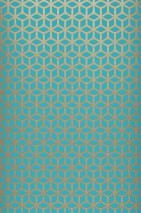 Wallpaper Zelor Shimmering pattern Matt base surface Geometrical elements Turquoise blue White gold shimmer