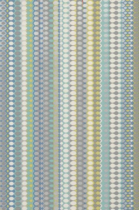 Papier peint Valentin Mat Rayures Bleu ciel Gris Jaune vert Turquoise menthe Argenté brillant