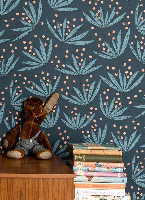 Papel pintado floral Papel pintado Wildflower azul océano Ver habitación