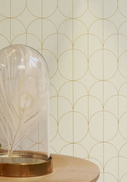 Geometric Wallpaper Wallpaper Havana pearl gold Room View