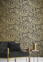 Wallpaper Madina Matt pattern Shimmering base surface Graphic elements Wavy pattern Gold shimmer Black