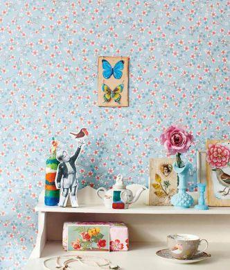 Wallpaper Felicia light blue Room View