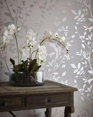Papel pintado Glorette plata Ver habitación
