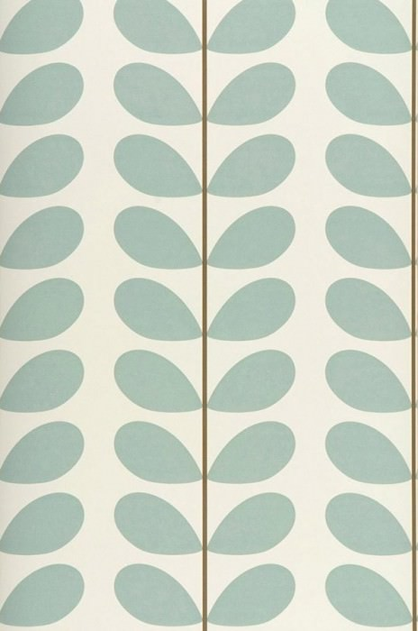 Wallpaper Osiris Matt Stylised leaves Cream Brown Pastel turquoise