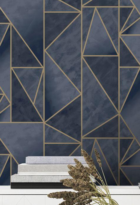Geometric Wallpaper Wallpaper Fantasque dark blue Room View