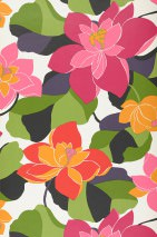 Wallpaper Adarna Matt Leaves Flowers Blossoms White Dark violet Heather violet Fuchsia Pea green Orange Red Black