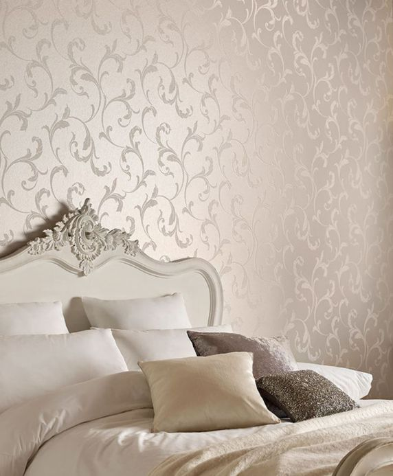 Glass bead wallpaper Wallpaper Iwana cream pearl lustre Room View