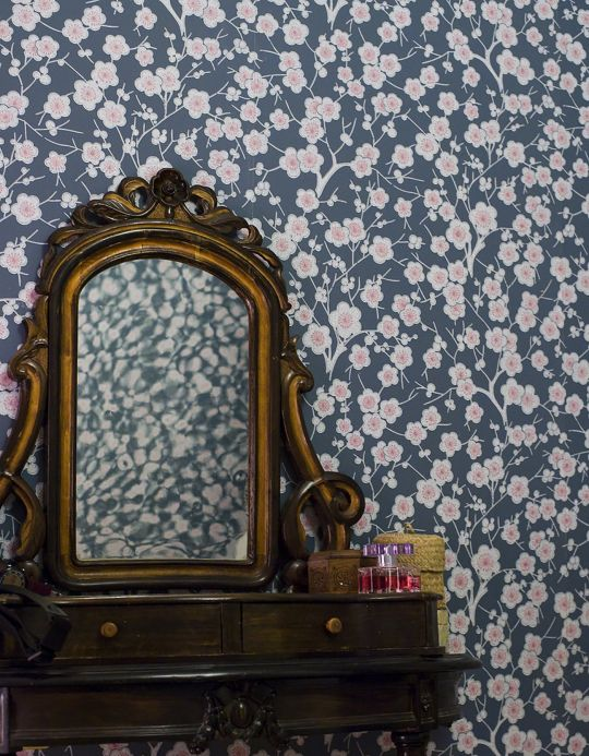 Floral Wallpaper Wallpaper Laila blue grey Room View