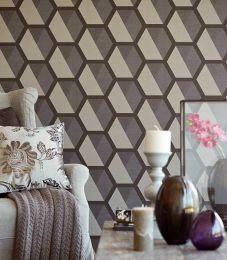 Wallpaper Hirolanit light beige grey glitter