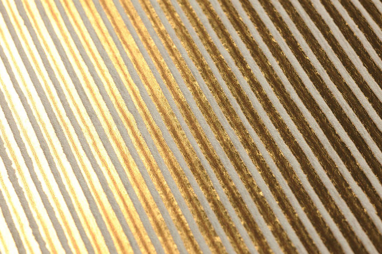 Isidor marr n oro amarillo blanco crema papel - Papeles pintados de los 70 ...