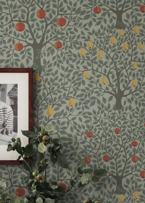 Papier peint botanique Papier peint Berita gris mousse Vue pièce