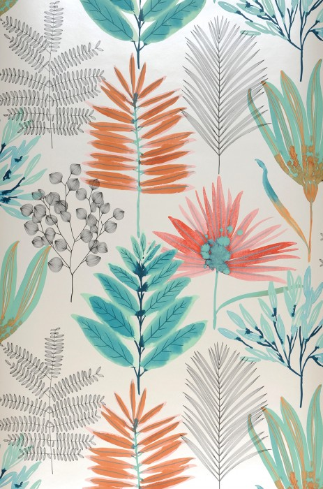 Wallpaper Hilma Matt Leaves Cream Orange brown   Pastel green Red Black grey Turquoise blue