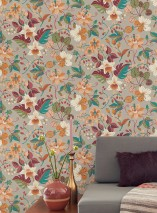 Wallpaper Frederika Hand printed look Matt Leaves Blossoms Stone grey Pale green Cream Strawberry red Pastel yellow Water blue Wine red