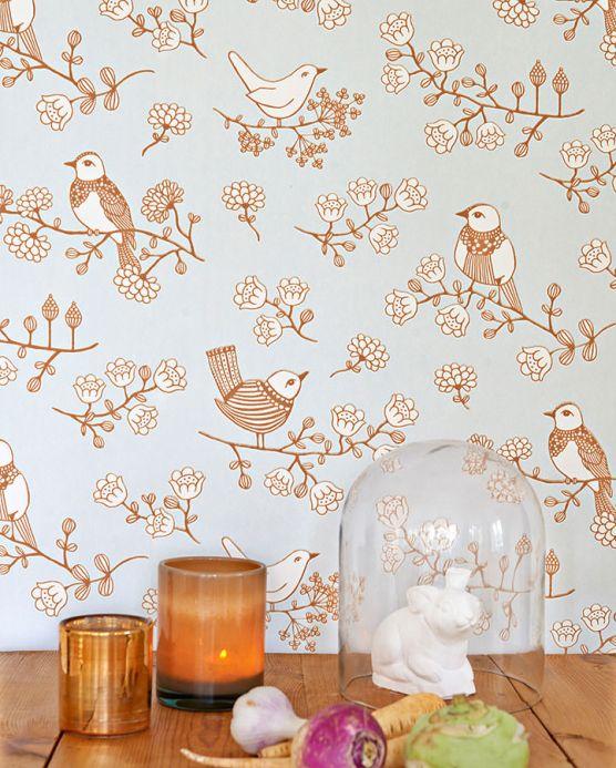 Papel de parede floral Papel de parede Sugar Tree marrom fulvo Ver quarto