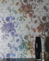 Wallpaper Safira Hologram effect Shiny pattern Matt base surface Leaves Flowers Light grey Black grey Silver metallic