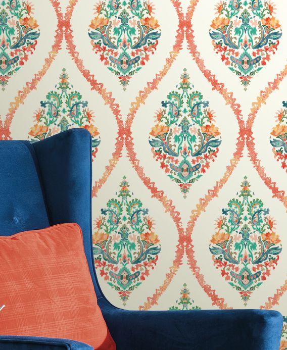 Archiv Papel pintado Ribanna naranja salmón Ver habitación