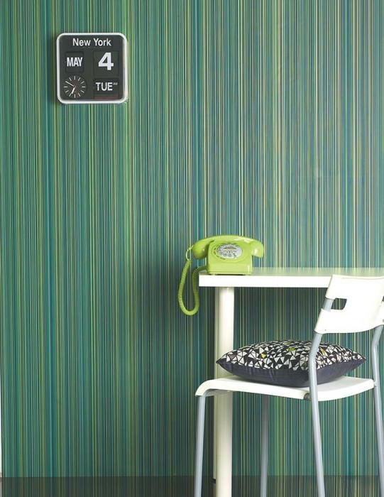 Wallpaper Hector Shimmering Stripes Blue Dark green Gold Turquoise