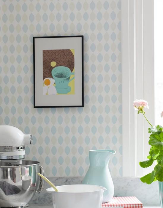 Papel pintado Elida Mate Elementos gráficos Blanco Azul claro pálido Verde claro pálido Azul pastel