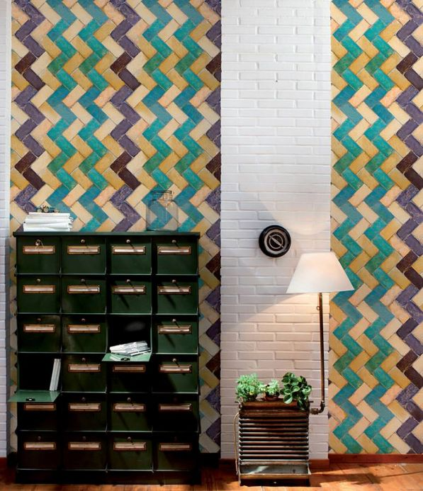 Archiv Wallpaper Zig zag turquoise Room View