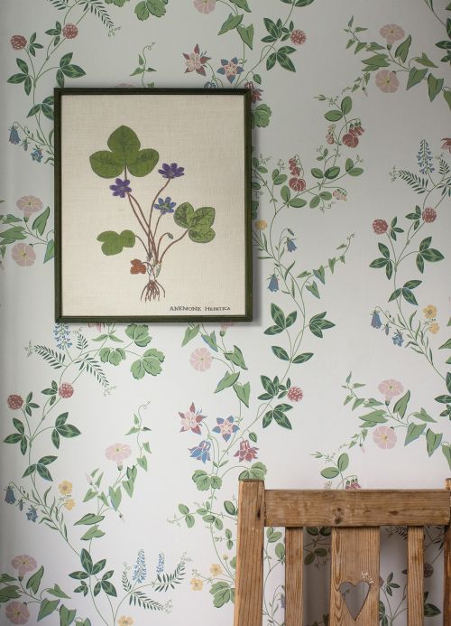 Floral Wallpaper Wallpaper Bellegarde pale green Room View