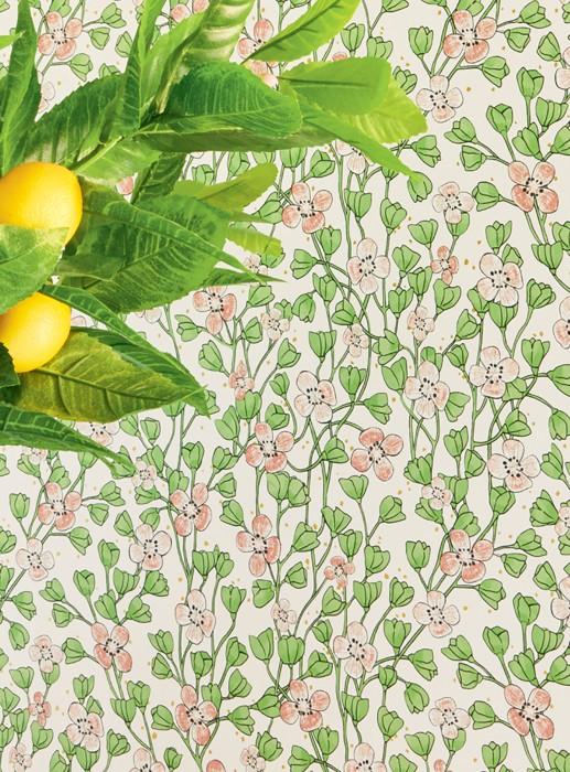Wallpaper Videnna Matt Flower tendrils White Gold shimmer Light green Red orange