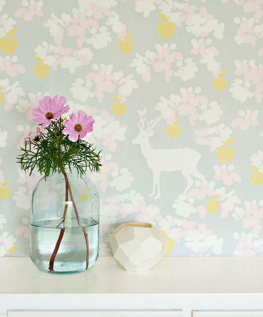 Papier peint apple garden gris clair jaune p le rose - Papier peint rose pale ...