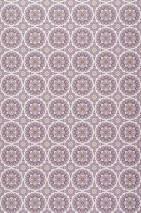Tapete Finola Matt Runde Ornamente Cremeweiss Gelbgrün Graubeige Violett