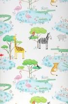 Papel de parede Sunny Mate Árvores Peixes Lagos Animais Pássaros Branco creme Amarelo Cinza Tons de verde Rosa Turquesa