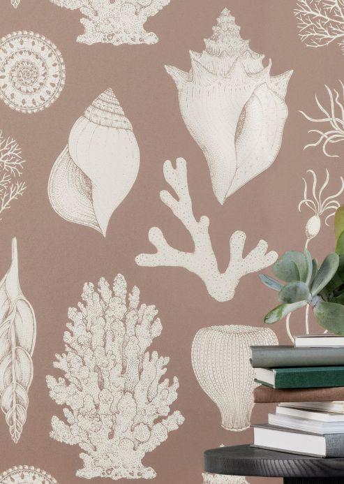 Maritime Wallpaper Wallpaper Shells pastel brown Room View